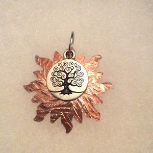 💚 Copper and Silver Original Art Pendant💚